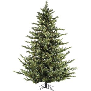 Foxtail Pine 7.5' Green Artificial Christmas Tree with 900 Smart String Lights and Stand