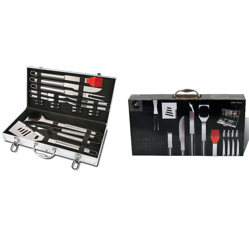 18 Piece Stainless Steel Bbq Grilling Tool Set