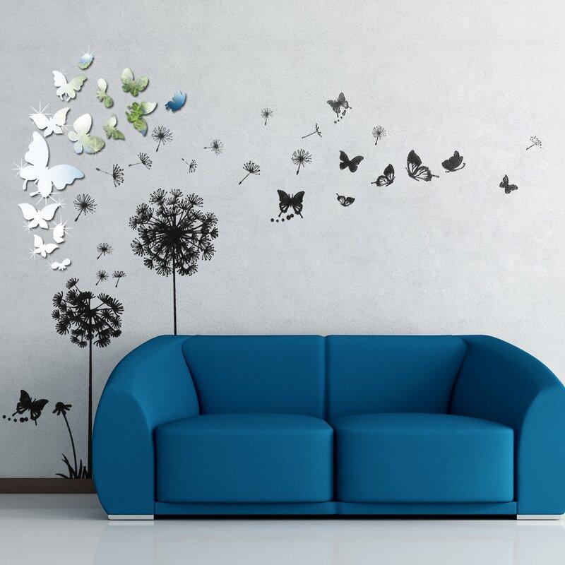 Ebern Designs Viens Mirror Butterfly Transparent Dandelion