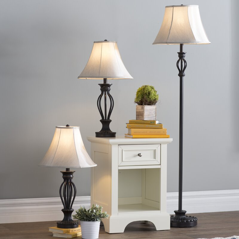 Three Posts Gambier 3 Piece Table And Floor Lamp Set Reviews Wayfair
