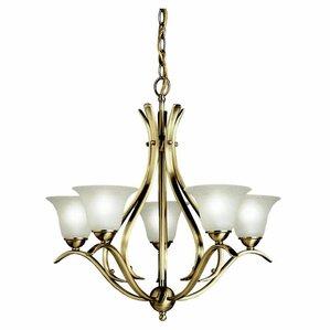 cayman 5light shaded chandelier - Brass Chandelier