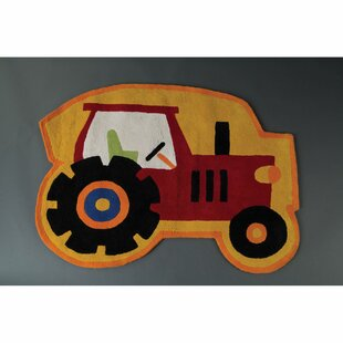 Kids Tractor Hand-Tufted Yellow/Red Area Rug by Castleton Home
