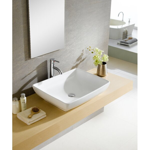 Fine Fixtures Modern Ceramic Rectangular Vessel Bathroom Sink