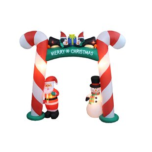 christmas inflatable candy cane arch with santa snowman and penguins - Snowman Christmas