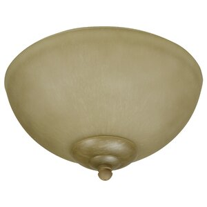 2-Light Alabaster Glass Bowl Outdoor Ceiling Fan Light Kit