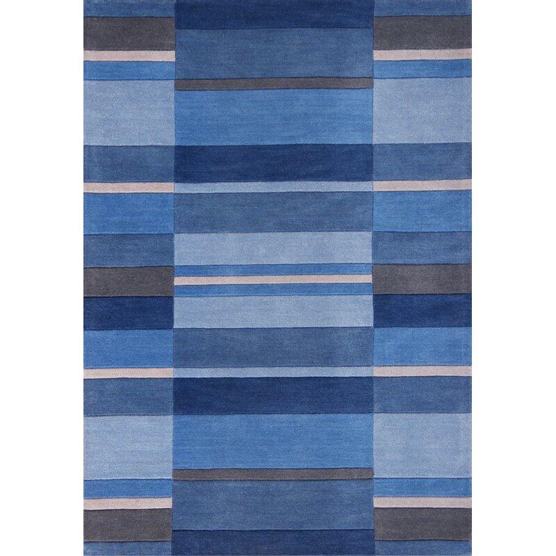 Metro Lane Handgewebter Teppich Nellie Aus Wolle In Blau