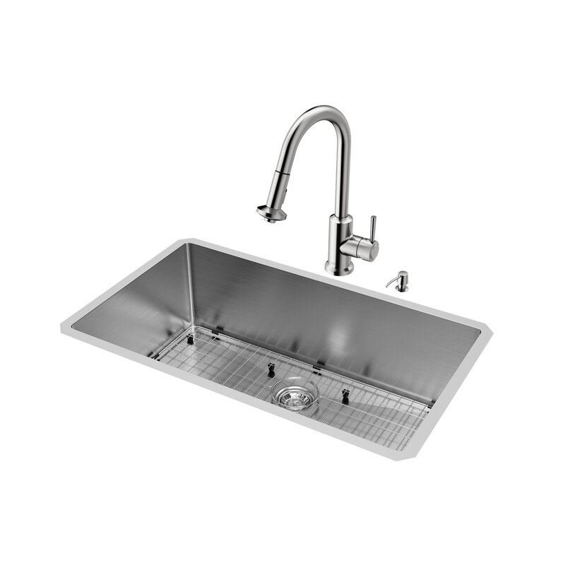 VIGO 32 inch Undermount Single Bowl 16 Gauge Stainless Steel Kitchen ...