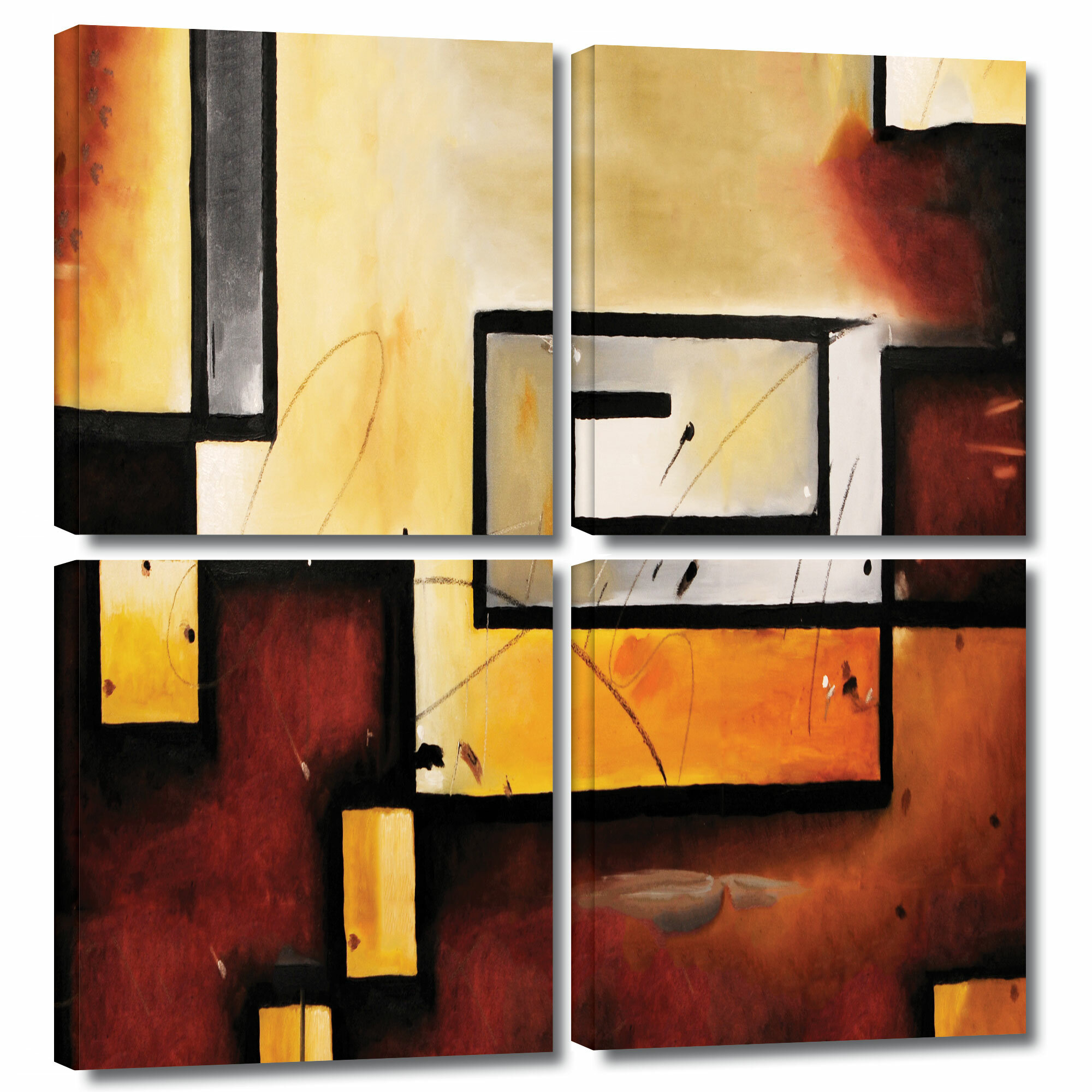 ArtWall \'Abstract Modern\' by Jim Morana 4 Piece Painting Print on ...