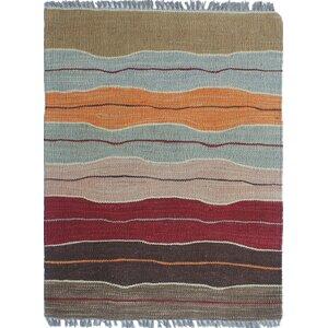 Troy Kilim Hand Woven 100% Wool Brown Area Rug