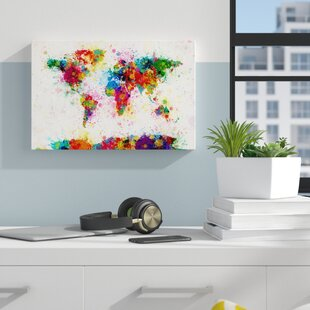 Large world map wall decal wayfair world map paint drops painting print on wrapped canvas gumiabroncs Images