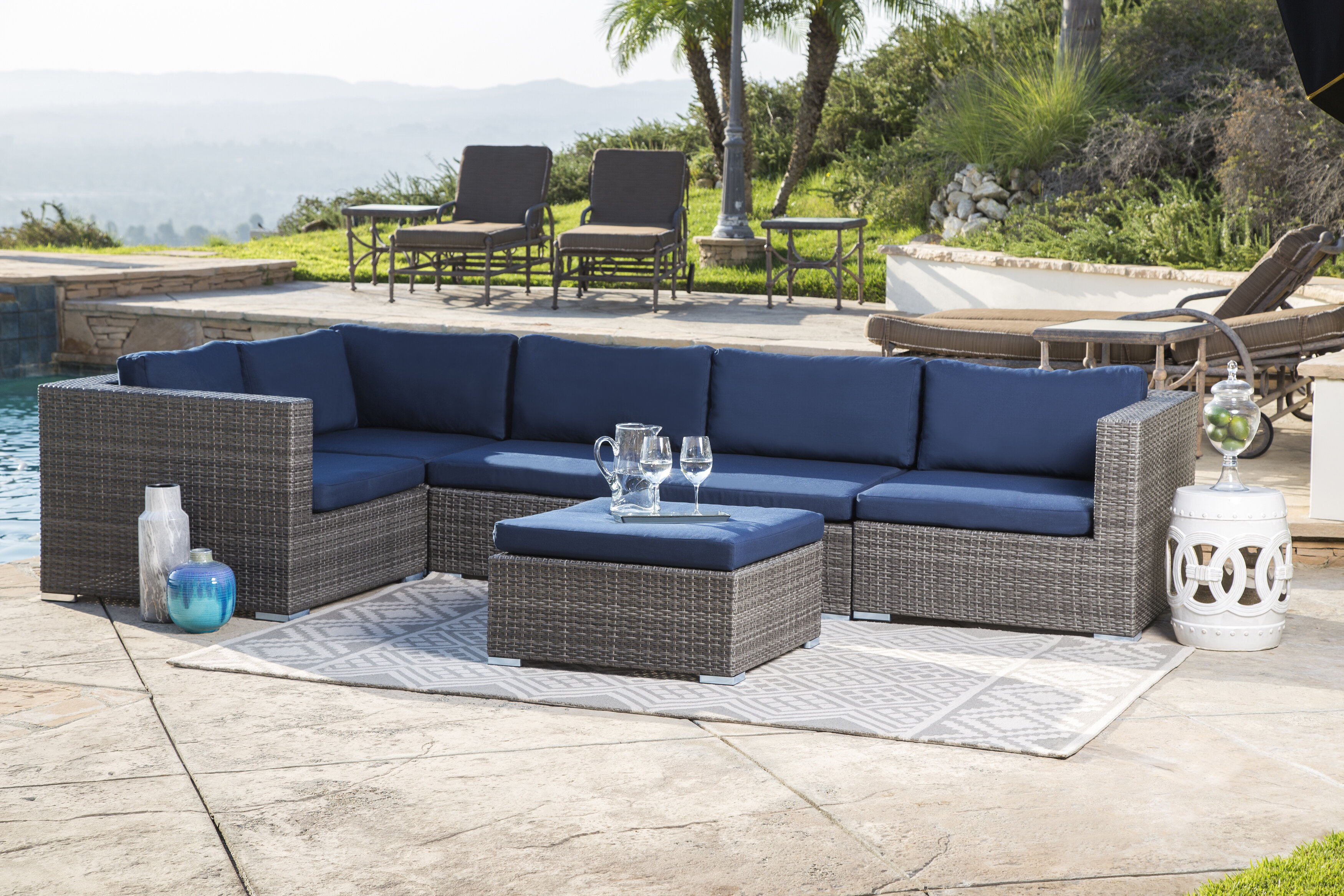 Bungalow Rose Ostrowski Outdoor Wicker Patio Sectional with Cushions ...