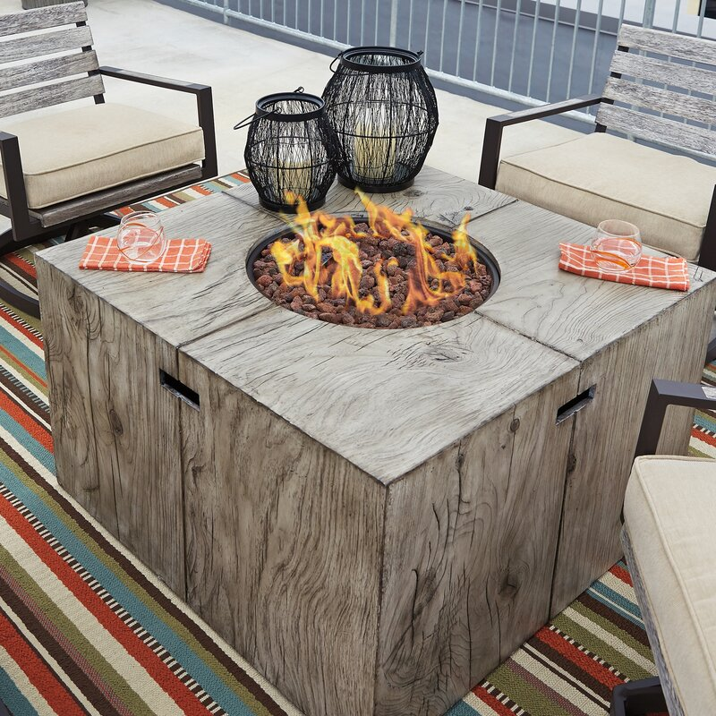 Attractive Lilah Polyresin Propane Fire Pit Table