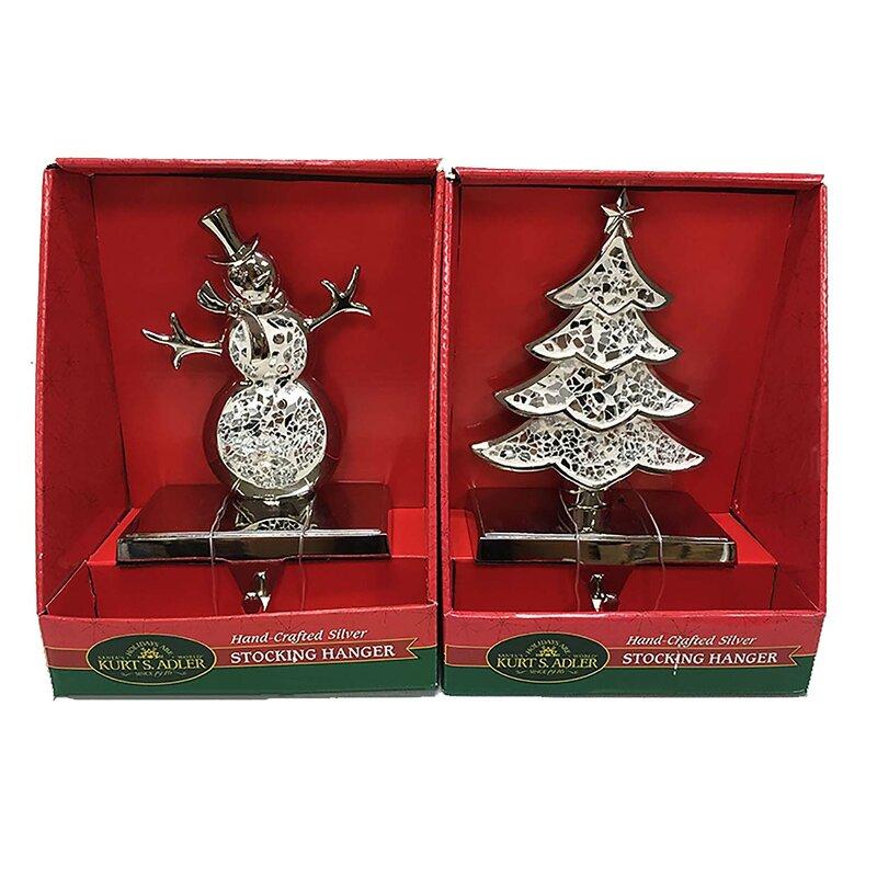 Kurt Adler 2 Piece Christmas Tree And Snowman Stocking Holder Set