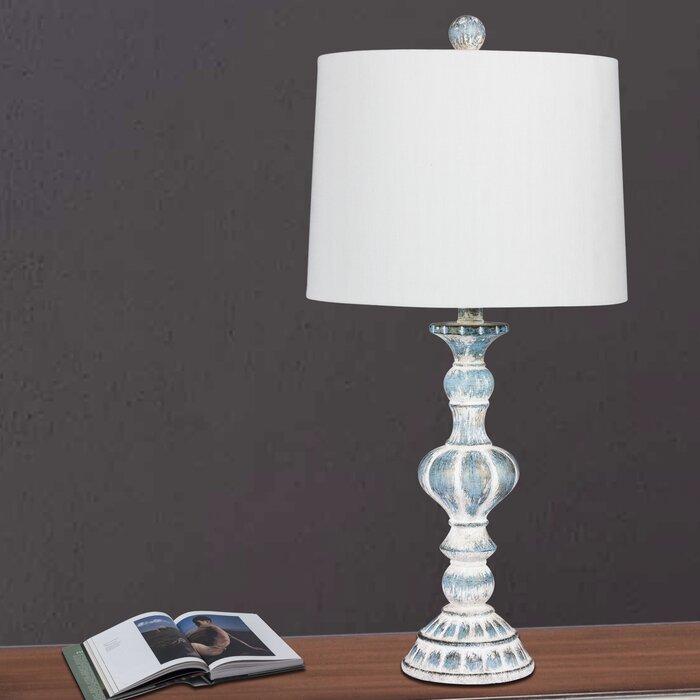 Roxann sculpted candlestick 27 table lamp