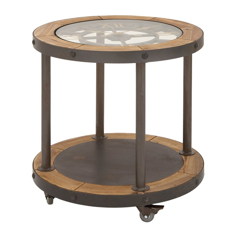 Clock Top Industrial End Table