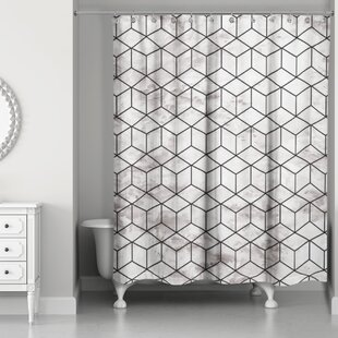 Bellamira Marble Geometric Cube Single Shower Curtain