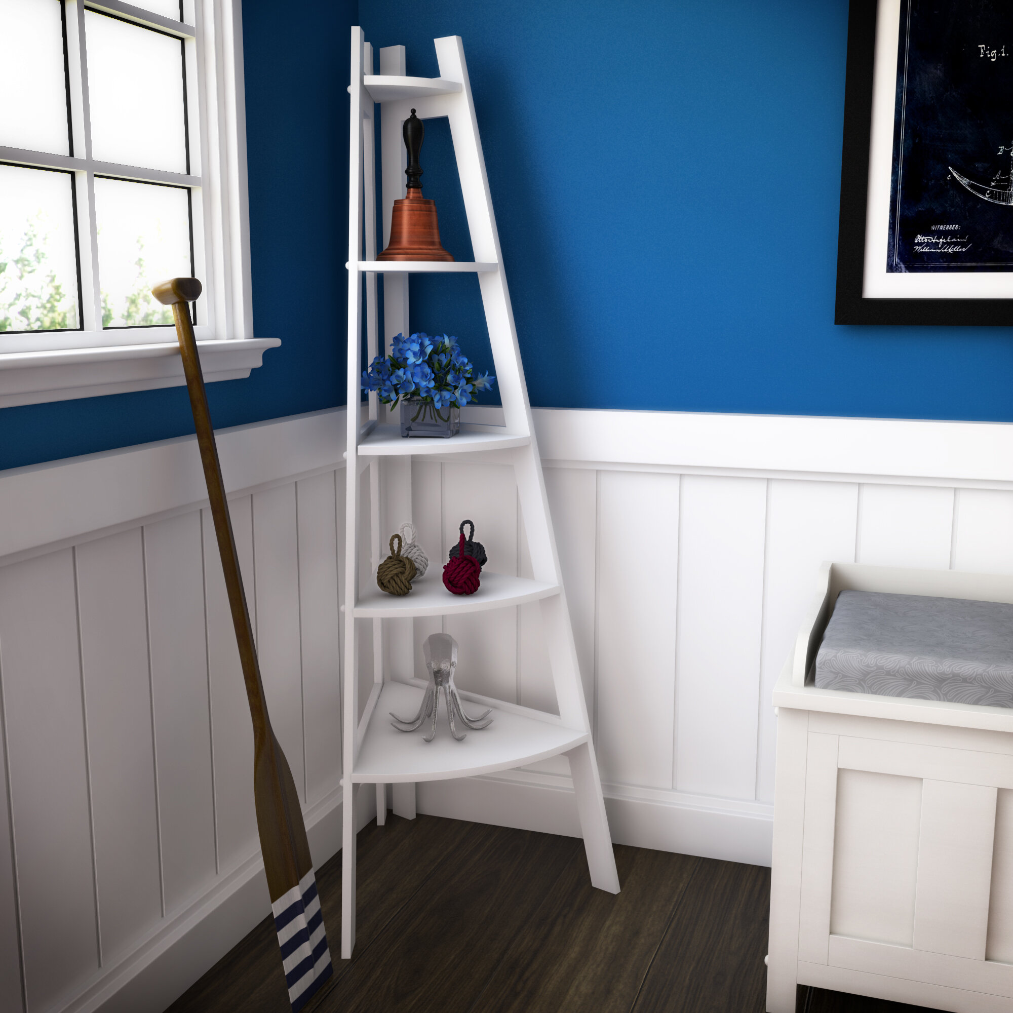 Beachcrest Home Pierview Corner Unit Bookcase & Reviews   Wayfair