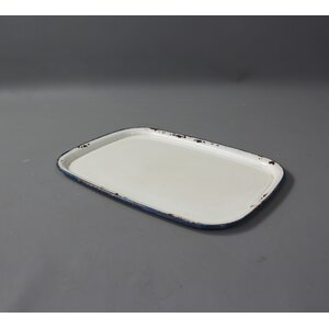 Rectangular Antique White Metal Accent Tray
