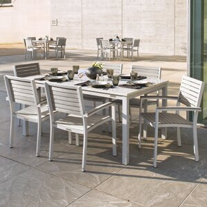 Farmington Contemporary 7 Piece Dining Set With Stackable Chairs