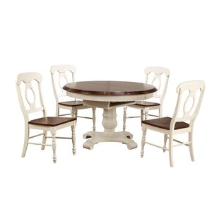Lockwood Butterfly Leaf 5 Piece Breakfast Nook Solid Wood Dining Set