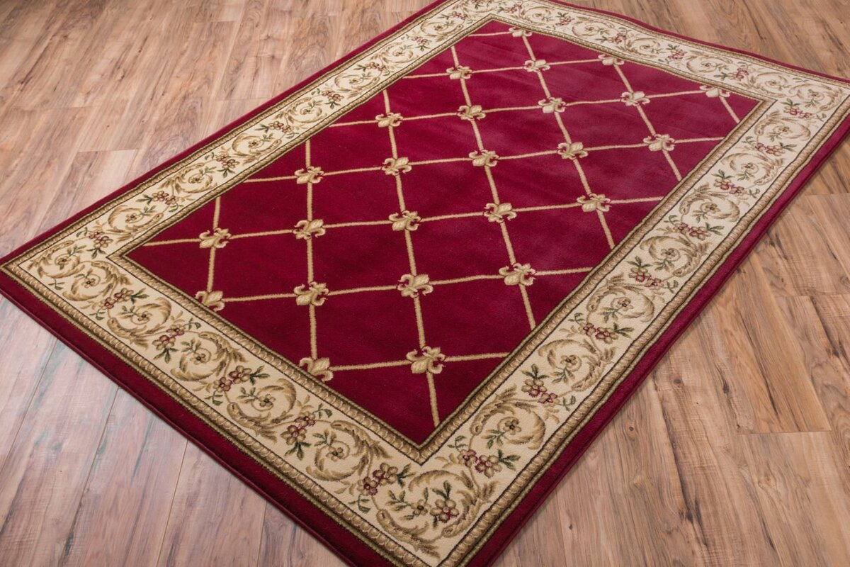 Astoria Grand Colindale Fleur De Lis Red Area Rug