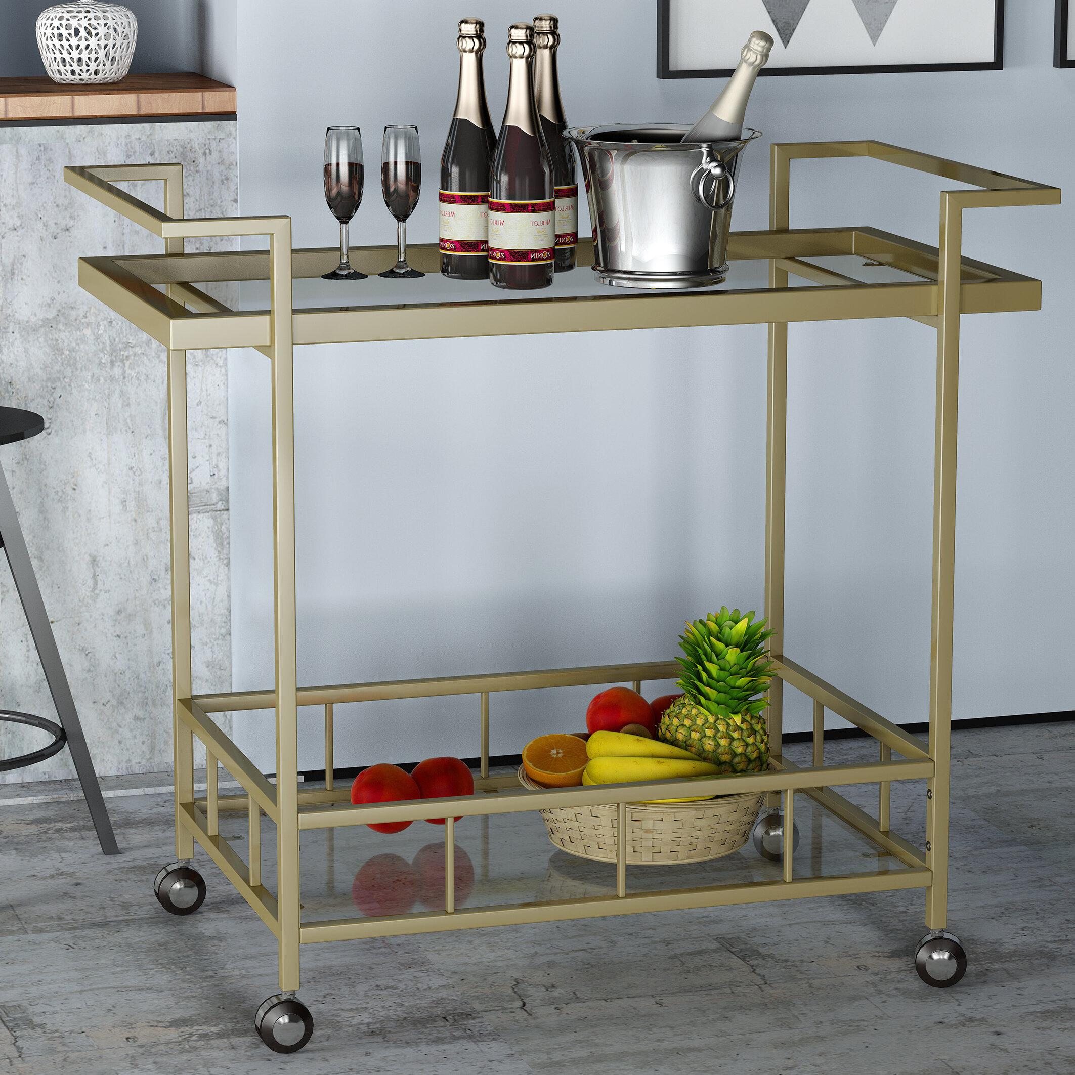Orren Ellis Emrich Industrial Iron/Glass Bar Cart   Wayfair