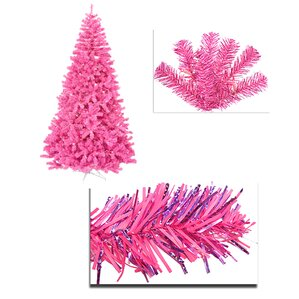 6 artificial sparkling tinsel christmas tree with 150 pink light - Light Pink Christmas Tree