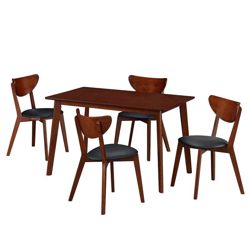 All Wood Dining Sets: Bulgera Modern Wood 5 Piece Dining Set & Reviews