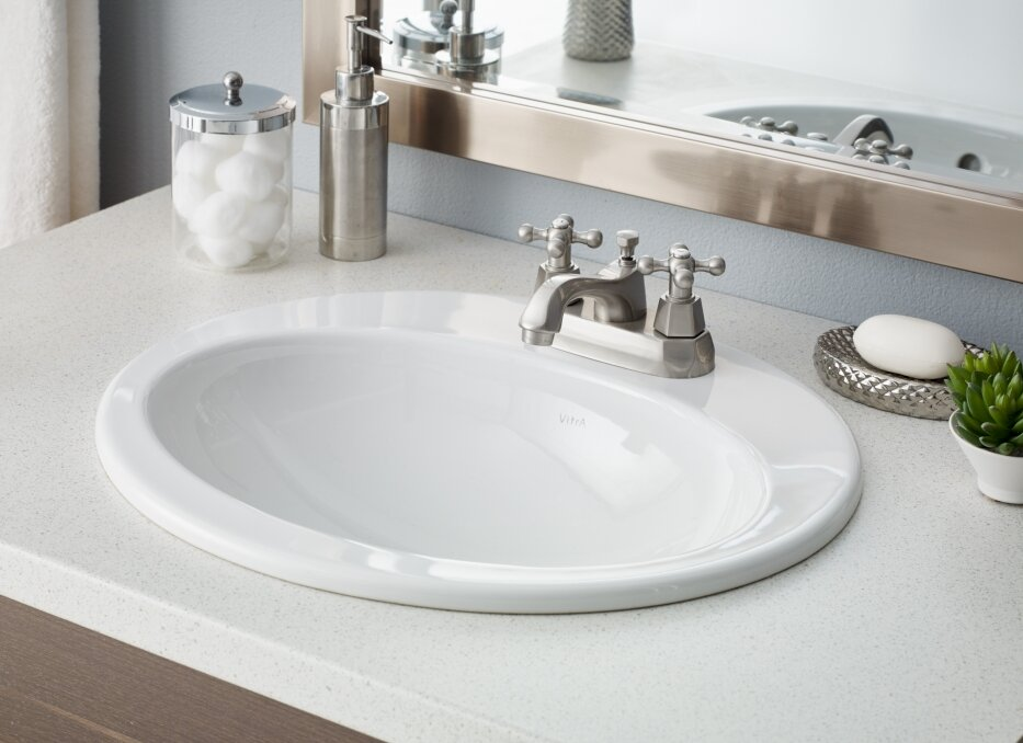 Cheviotproducts Aria Vitreous China Oval Drop In Bathroom Sink With Overflow Wayfair