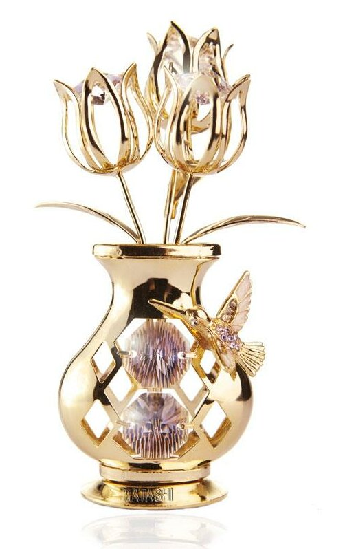 Matashicrystal 24k Gold Plated Crystal Studded Flower Ornament In A