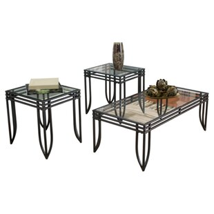 3 piece glass coffee table set wayfair