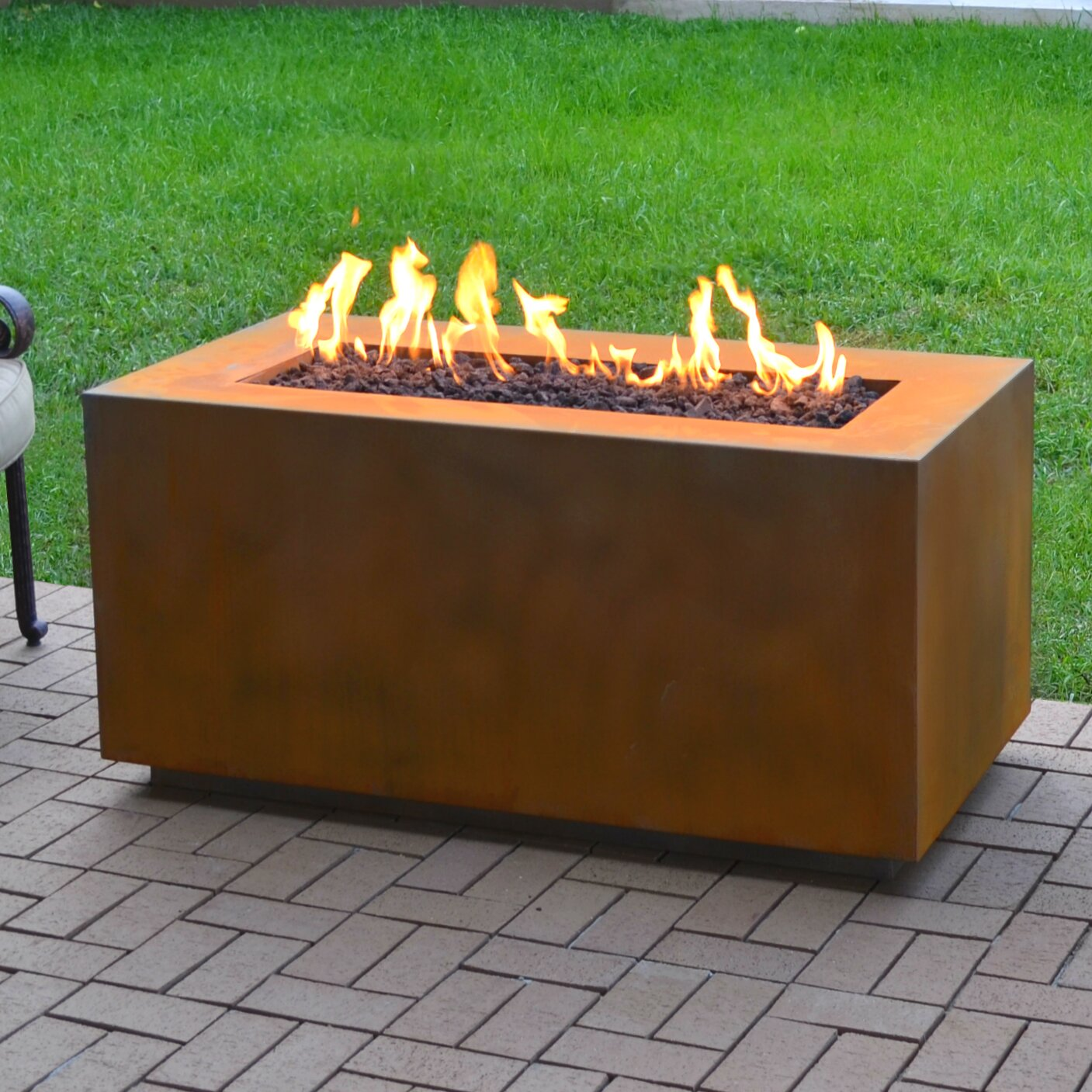 The Outdoor Plus Corten Steel Propane Fire Pit Table