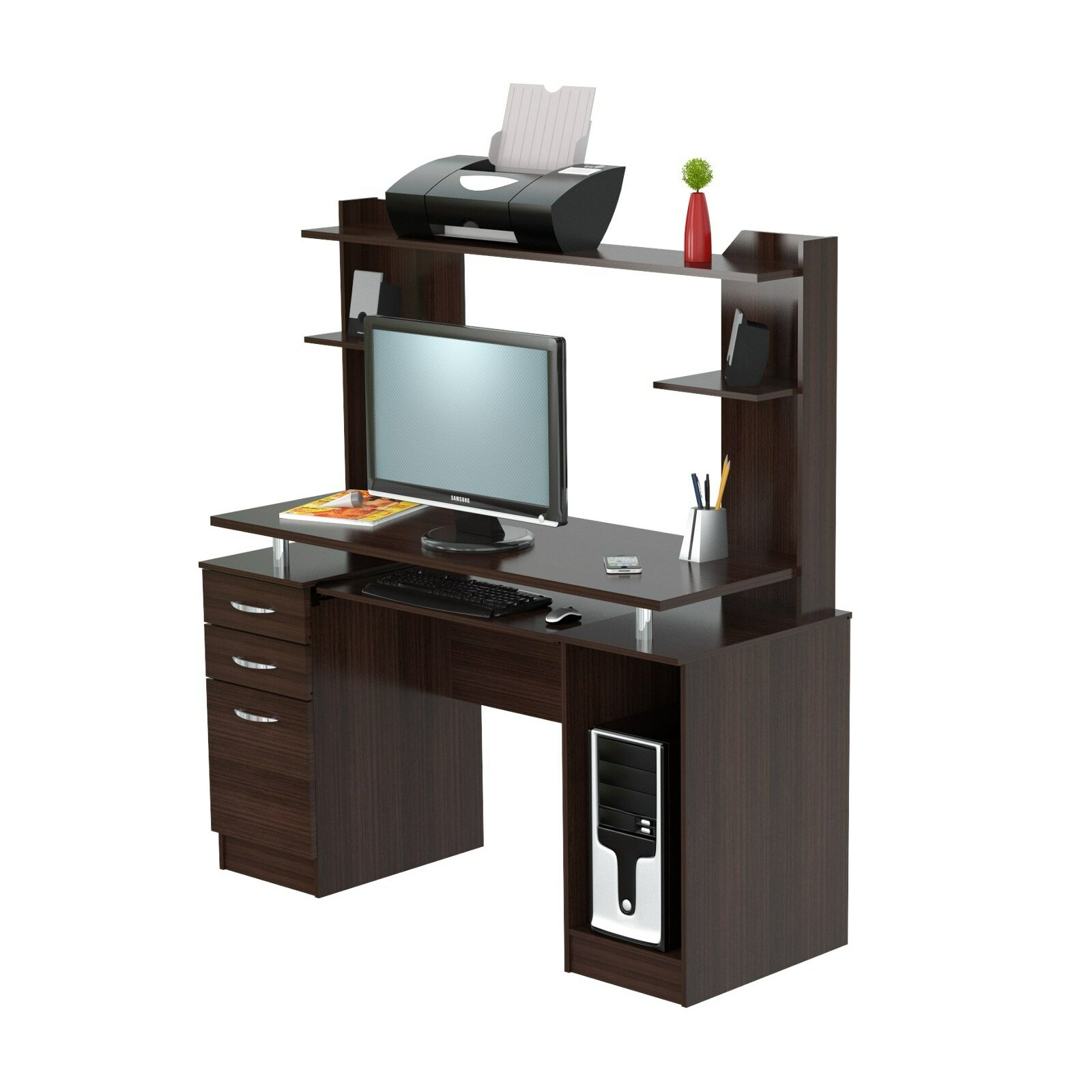 Inval Workcente Computer Desk With Hutch Amp Reviews Wayfair