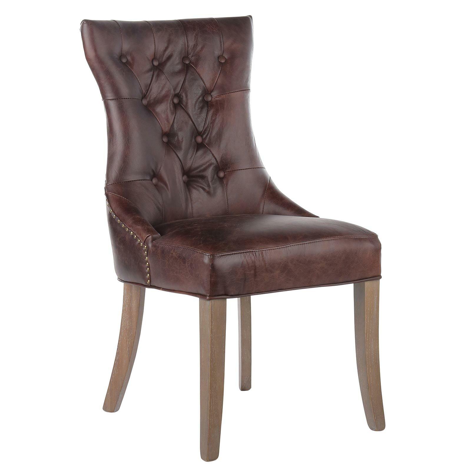 joseph allen mustang tufted genuine leather upholstered dining chair. Black Bedroom Furniture Sets. Home Design Ideas