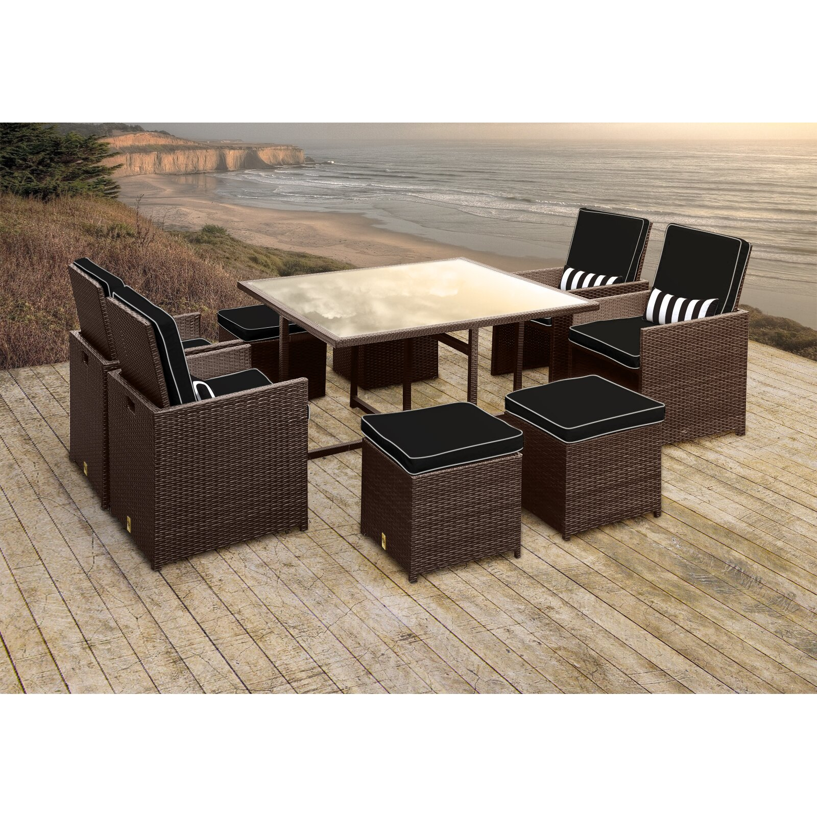 Resistant rattan effect outdoor patio dining set with round table - Stella Ii Patio Rattan 9 Piece Dining Set With Cushions And Rectangular Toss Pillows