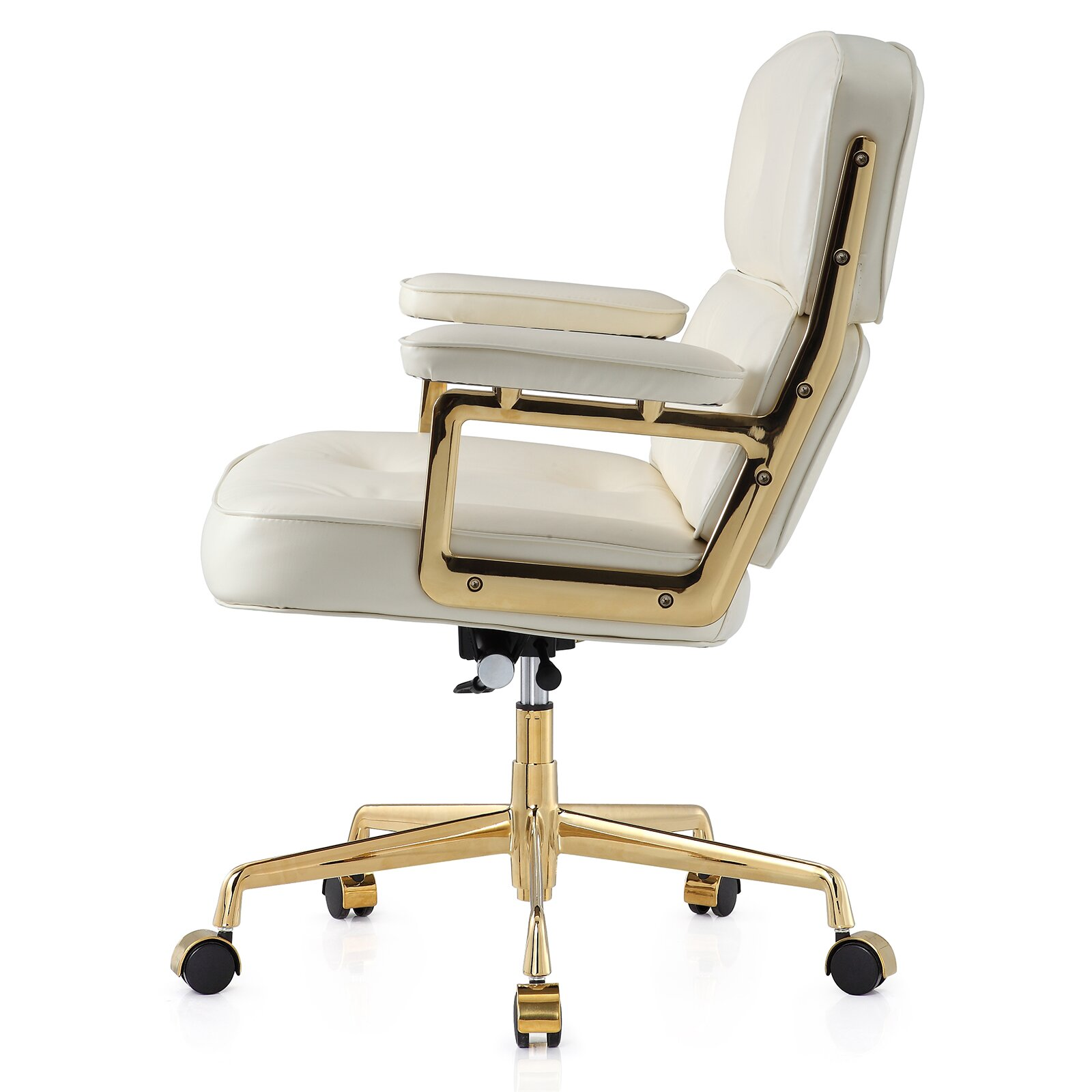 16 leather office chair with lumbar support reviews allmodern