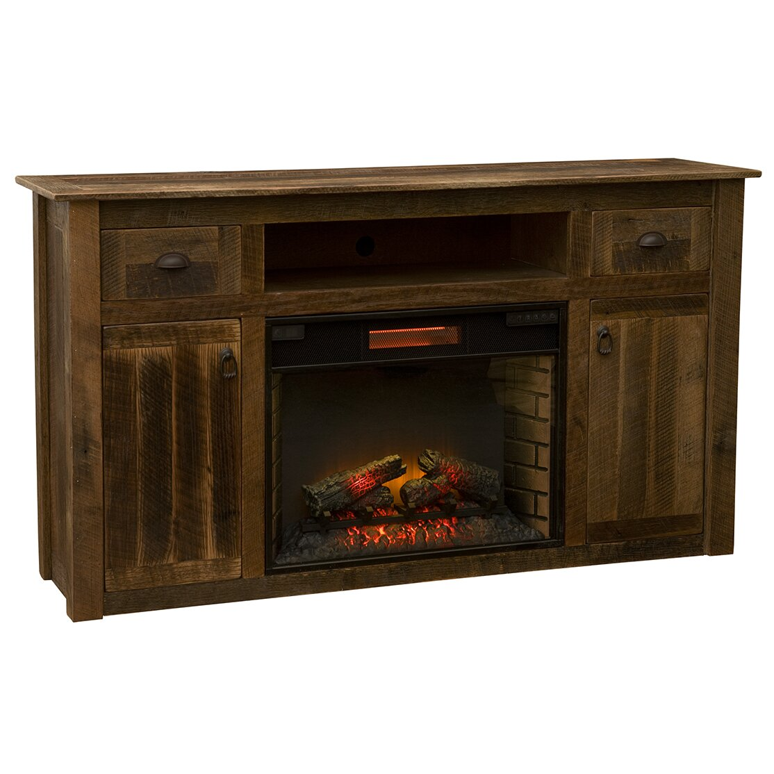 fireside lodge 65 tv stand with electric fireplace. Black Bedroom Furniture Sets. Home Design Ideas