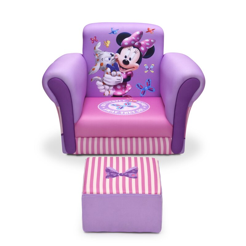 Delta Children Minnie Mouse Upholstered Kids Club Chair and Ottoman ...
