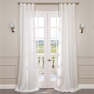 Pyrogi Solid Sheer Rod Pocket Single Curtain Panel