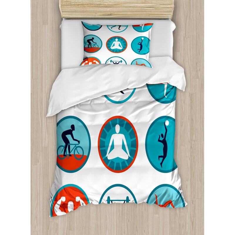 Graphic Circular Icons With Jogging Swimming Meditation Sports Themed Signs Duvet Cover Set