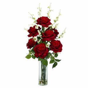 Roses with Cherry Blossoms Silk Flower Arrangement