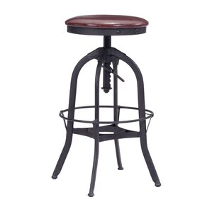 Wrenn Adjustable Height Swivel Bar Stool by Brayden Studio