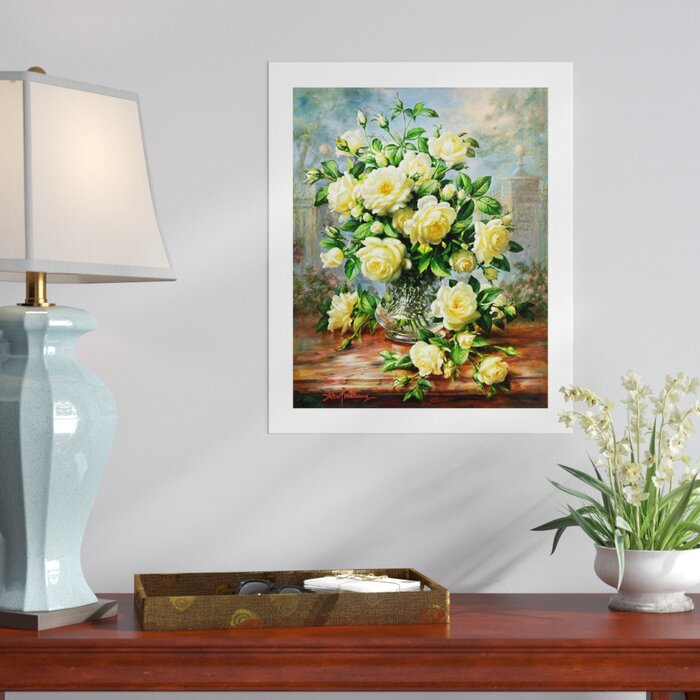 Three Posts Princess Diana Roses In A Cut Glass Vase Painting