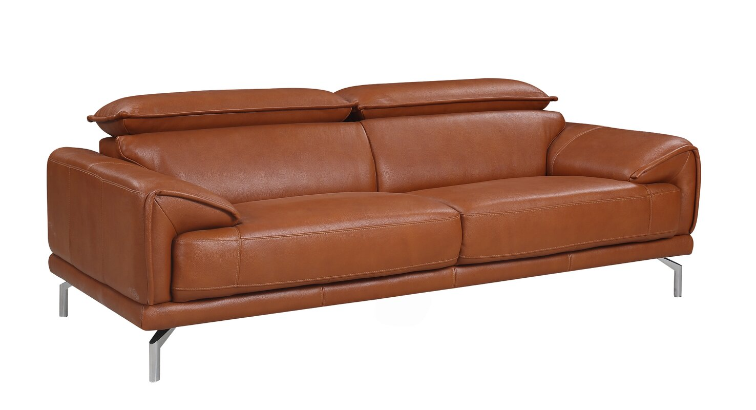 Superior Tawny Mid Century Modern Top Grain Leather Sofa