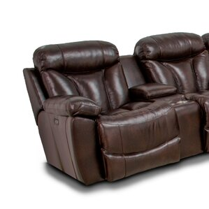 Brook Wescott Leather Reversible Reclining Sectional by Latitude Run