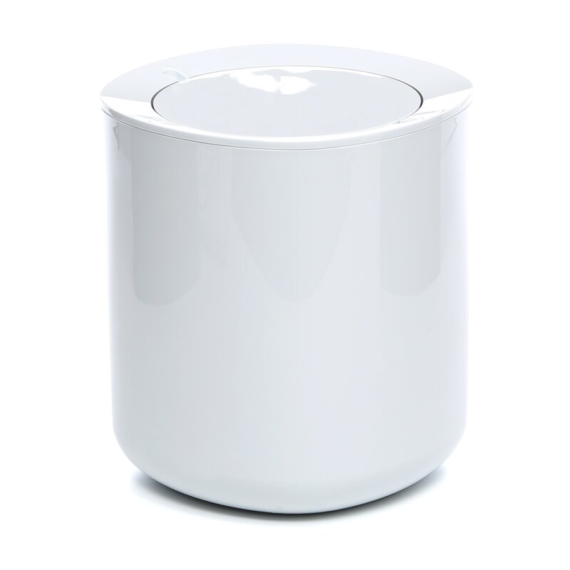 White Bathroom Garbage Cans birillo bathroom 1 gallon swing top trash can & reviews | allmodern
