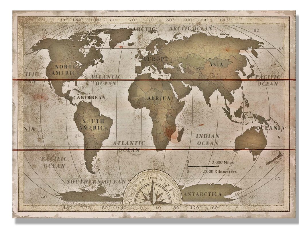 Old World Map Art.  Old World Map Graphic Art on Wood Daydream HQ Reviews Wayfair