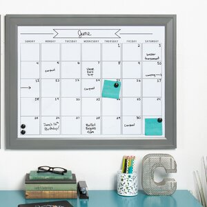 Contemporary Framed Monthly Calendar Magnetic Dry Erase Board