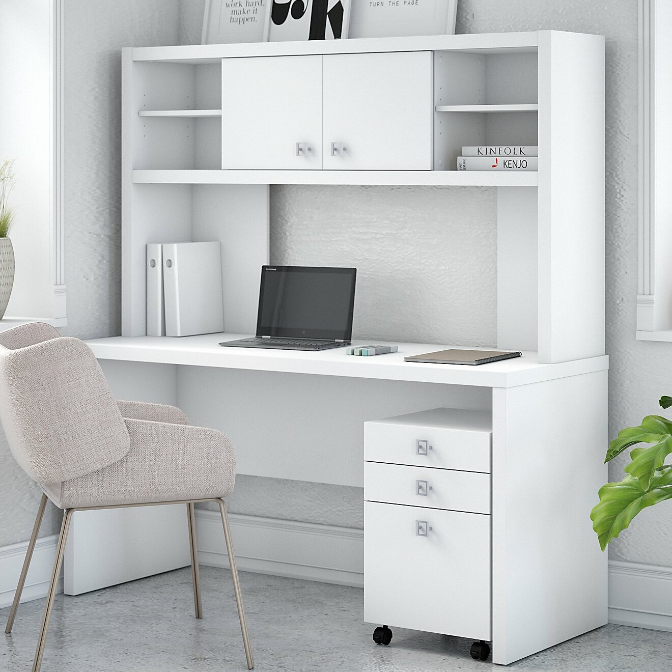 Kathy Ireland Office By Bush Echo Credenza 2 Piece Desk Office Suite With  Hutch And Mobile File Cabinet | Wayfair