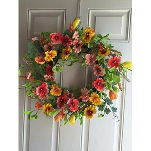 Pansy Silk Wreath with Door Hanger  sc 1 st  Wayfair & Wreath Door Hanger | Wayfair